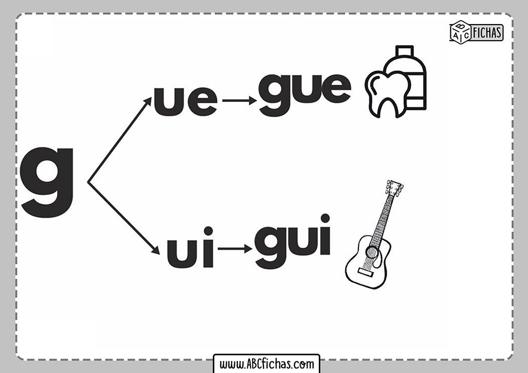 Letra gu silabas con gu
