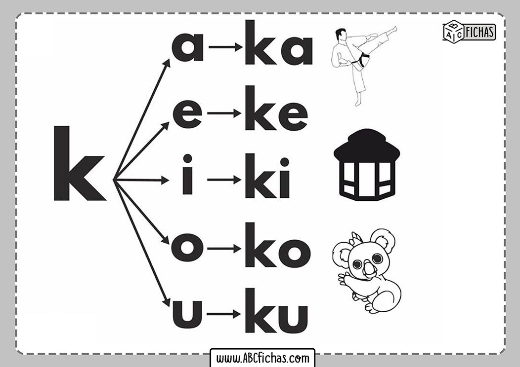 Letra k silabas con k