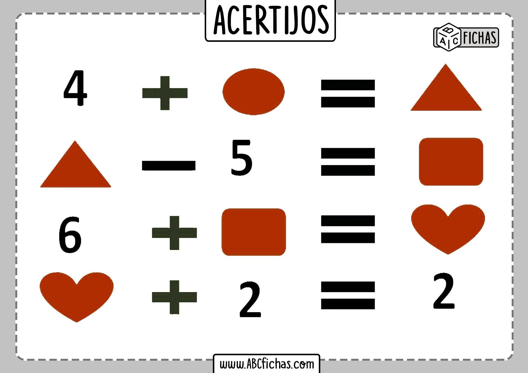 Acertijos matematicos faciles de operaciones