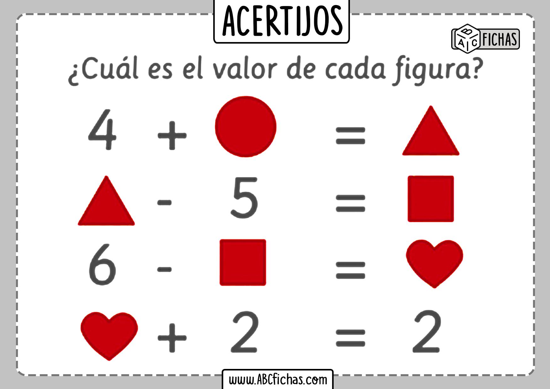 Acertijos matematicos con dibujos para niños