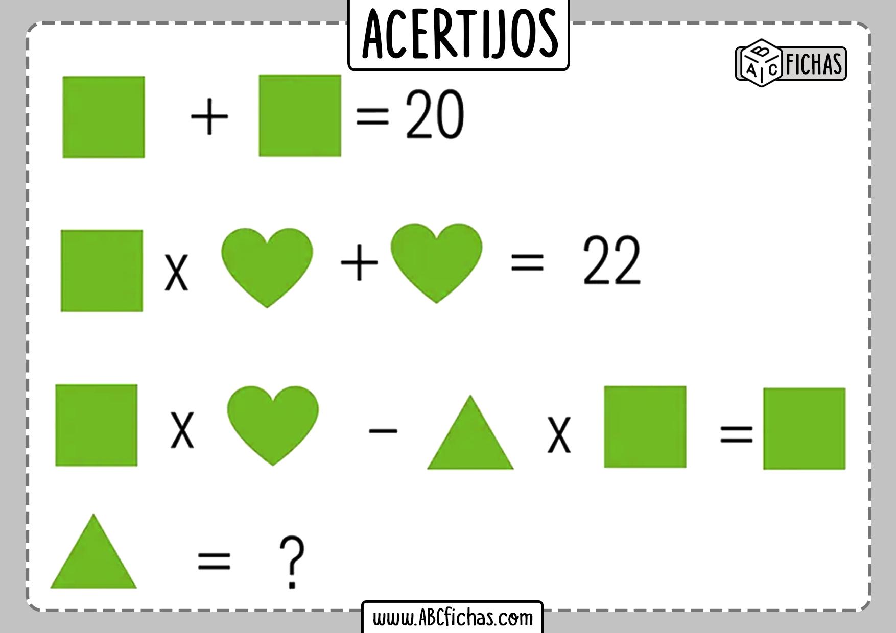 Acertijos matematicos de numeros