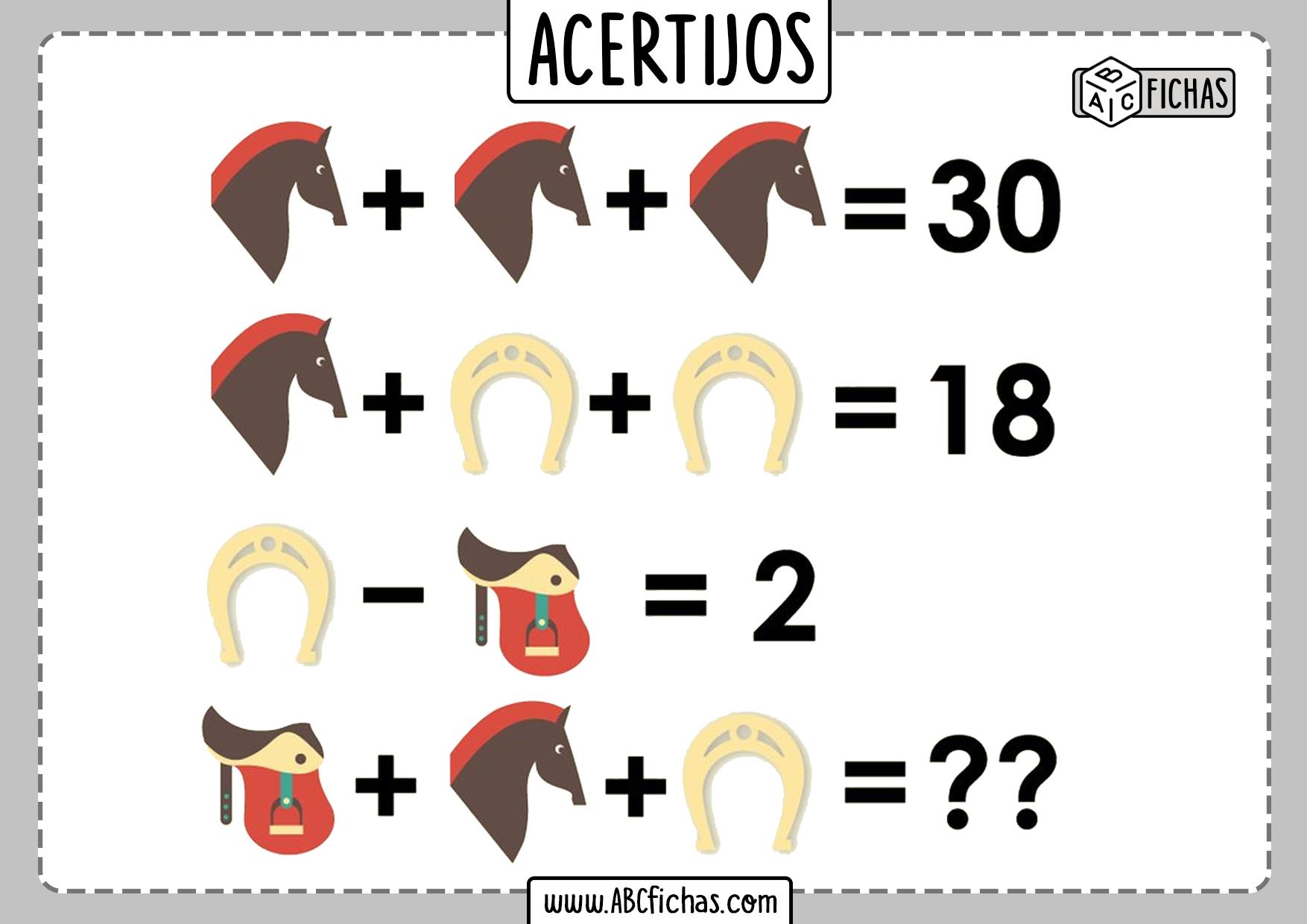 Acertijos matematicos de sumas y restas