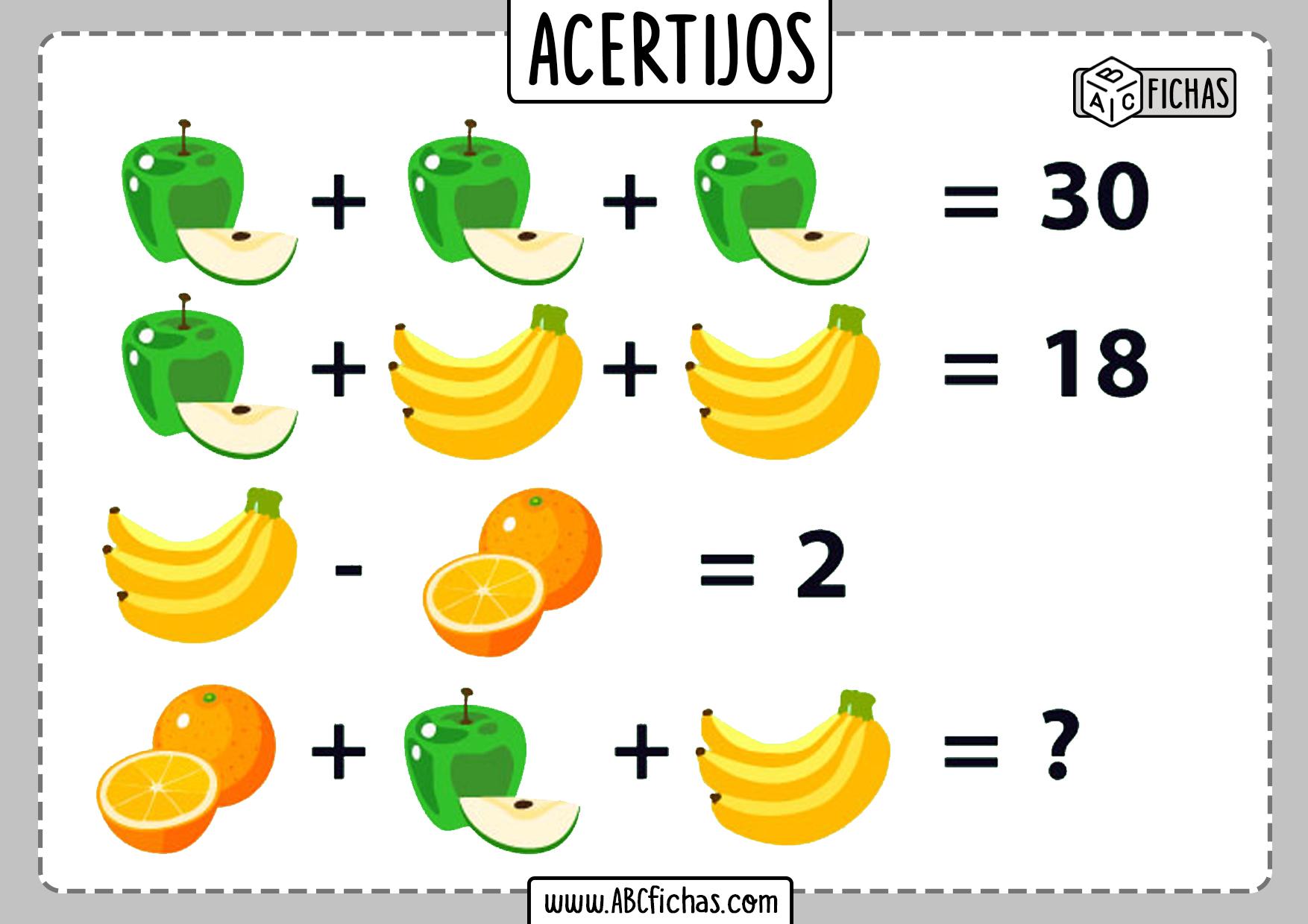 Acertijos de matematicas con dibujos