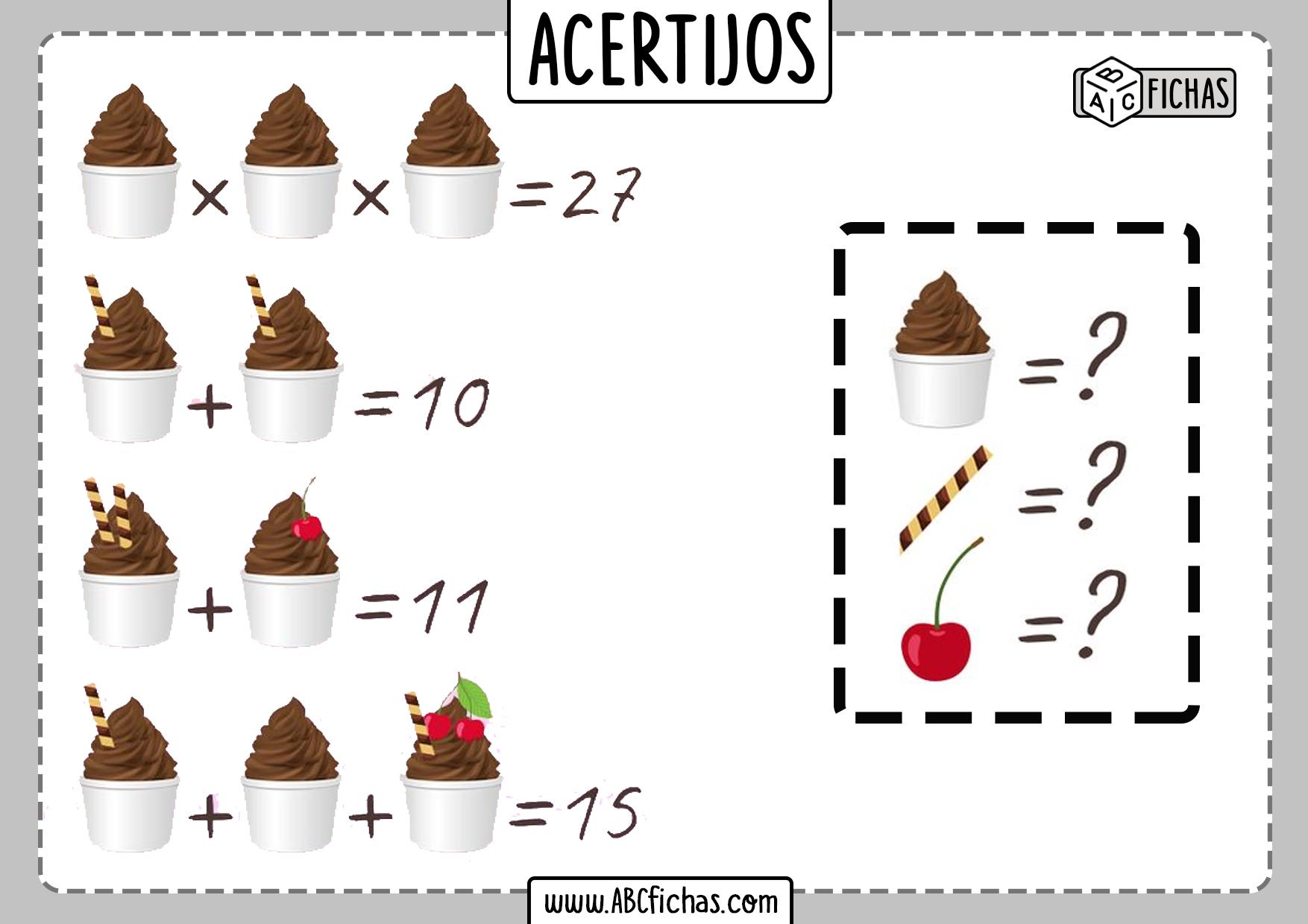 Acertijos de matematicas de numeros con dibujos