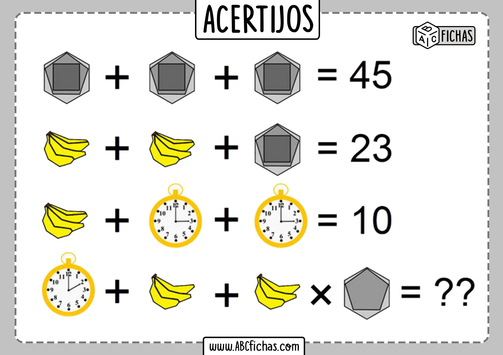 Acertijos de matematicas para niños