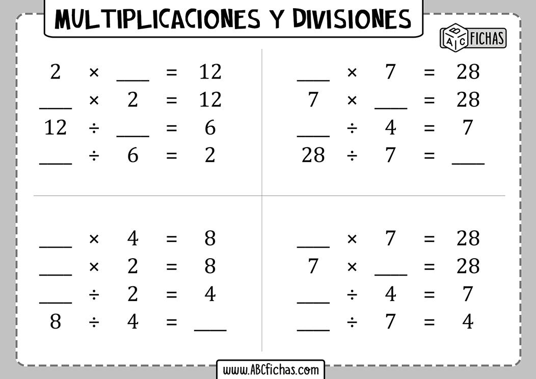 Cuadernillo de multiplicaciones y divisiones