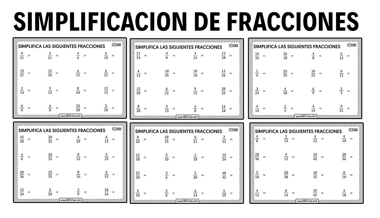 Ejercicios simplificacion fracciones