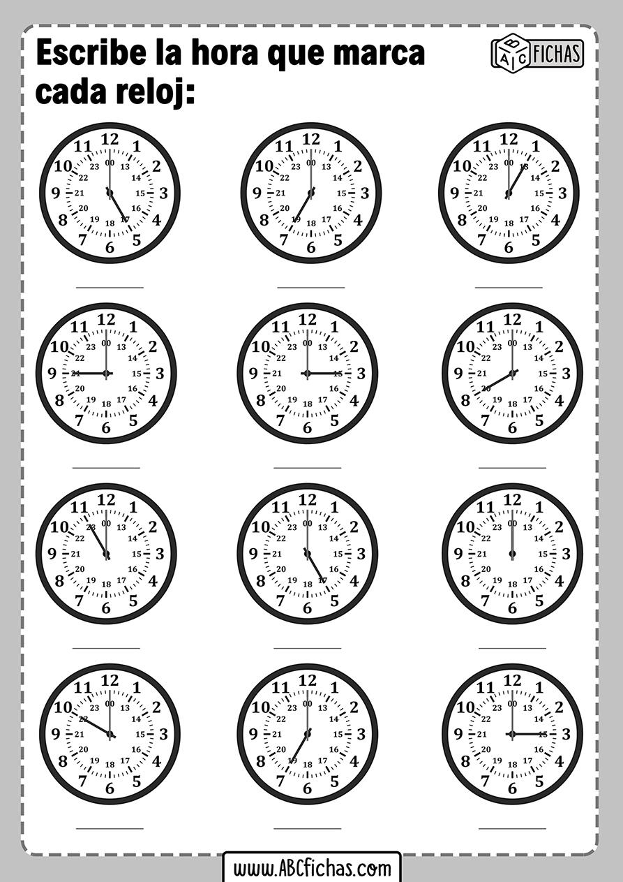 Ejercicios de completar la hora que es