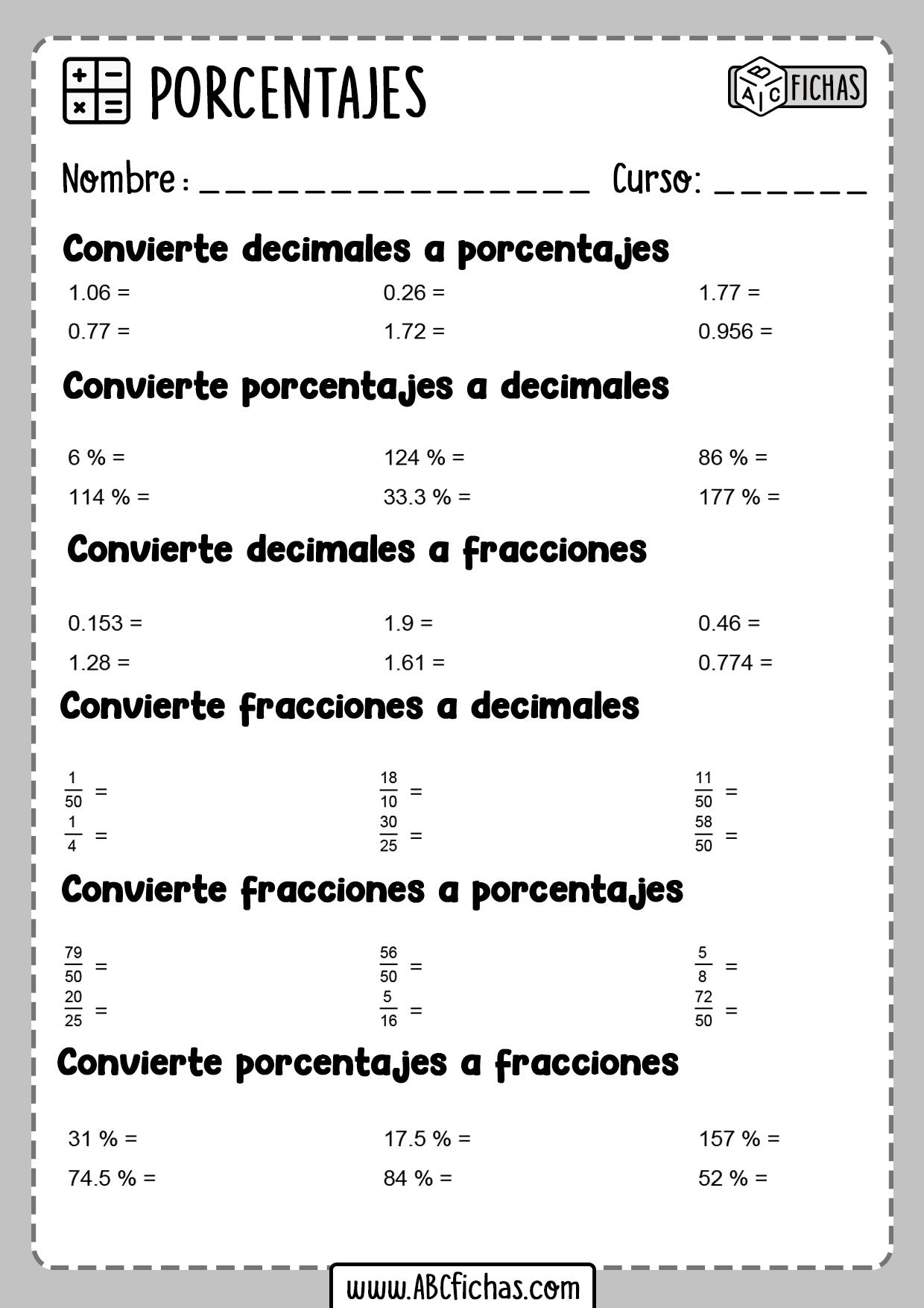 Ejercicios de decimales y porcentajes