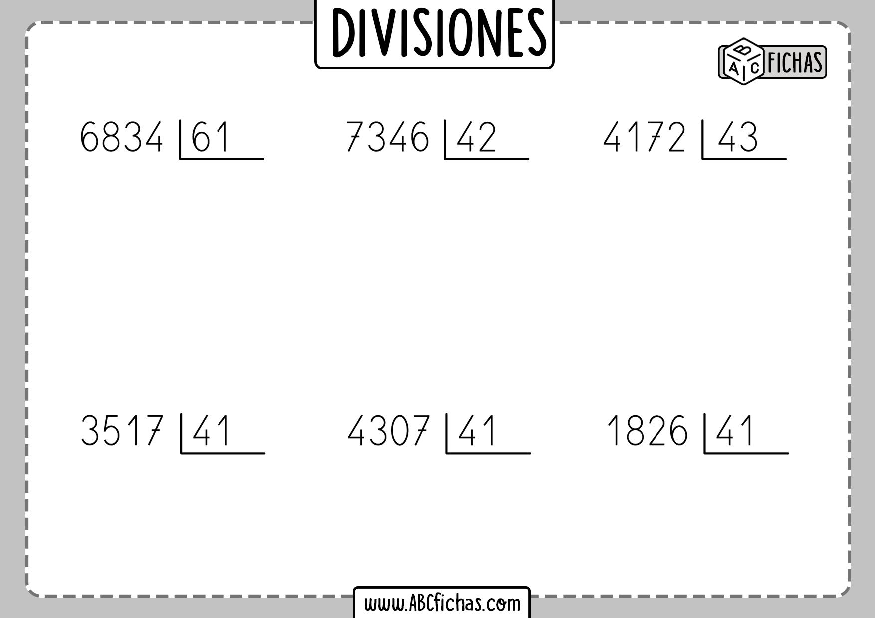 Ejercicios de divisiones por dos cifras