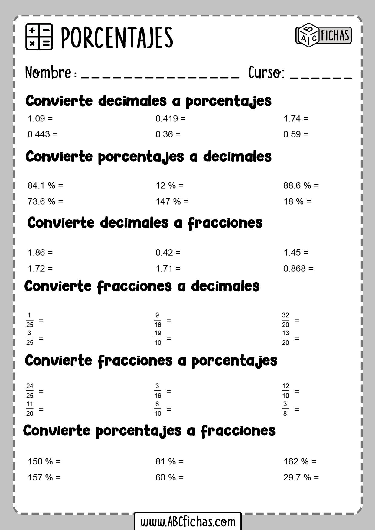 Ejercicios de fracciones porcentajes y decimales para resolver