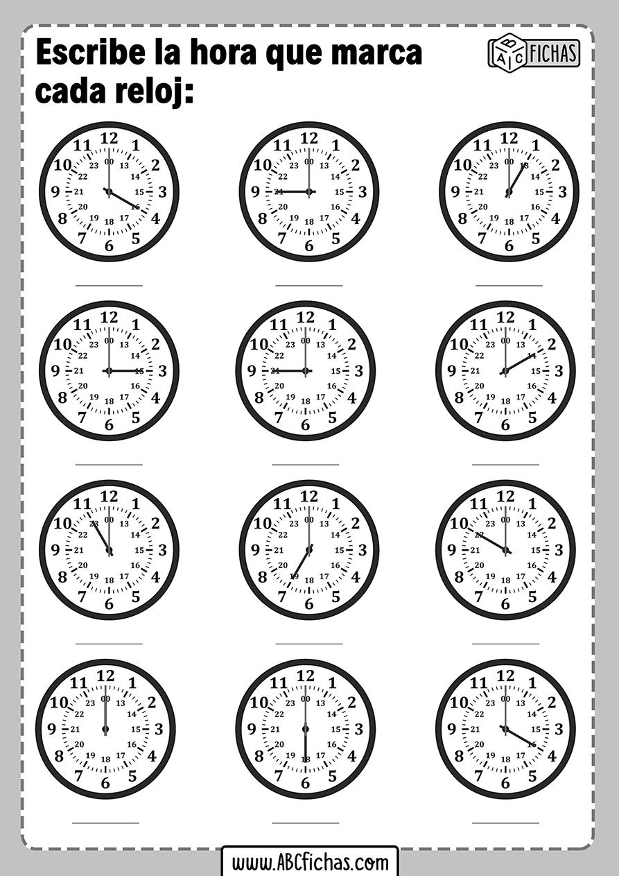 Ejercicios de la hora para niños de primaria