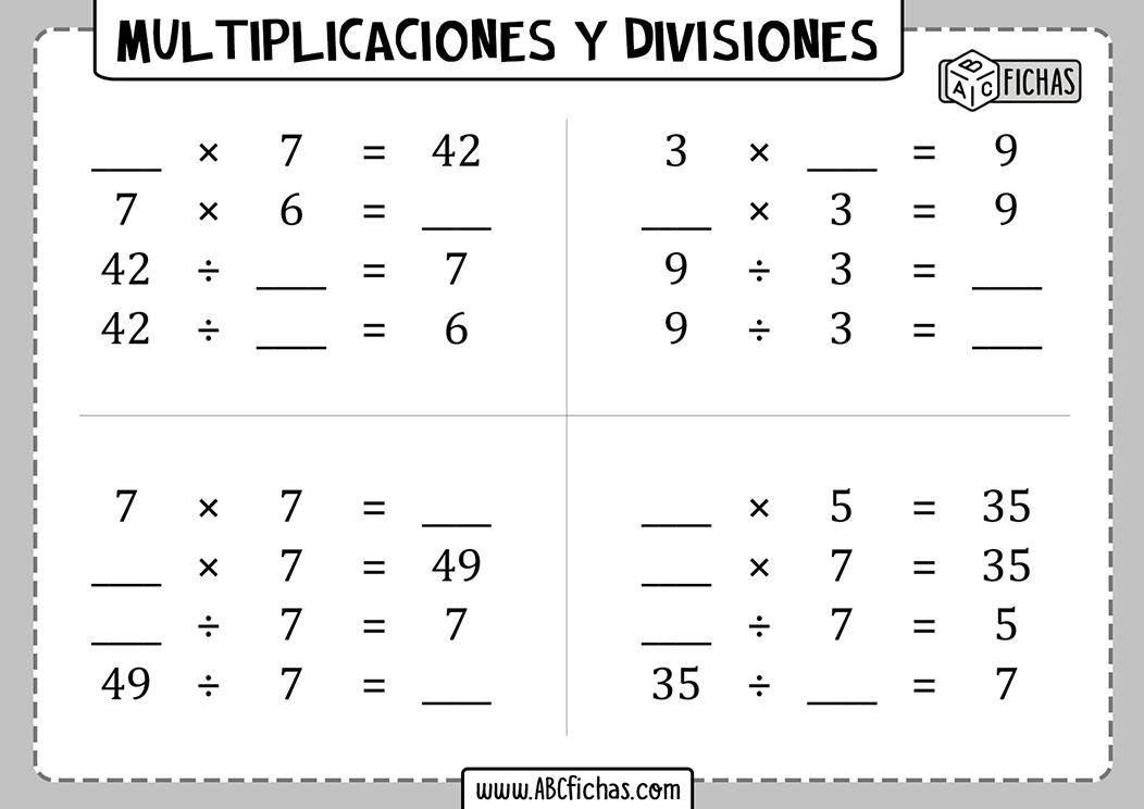 Ejercicios de multiplicaciones y divisiones