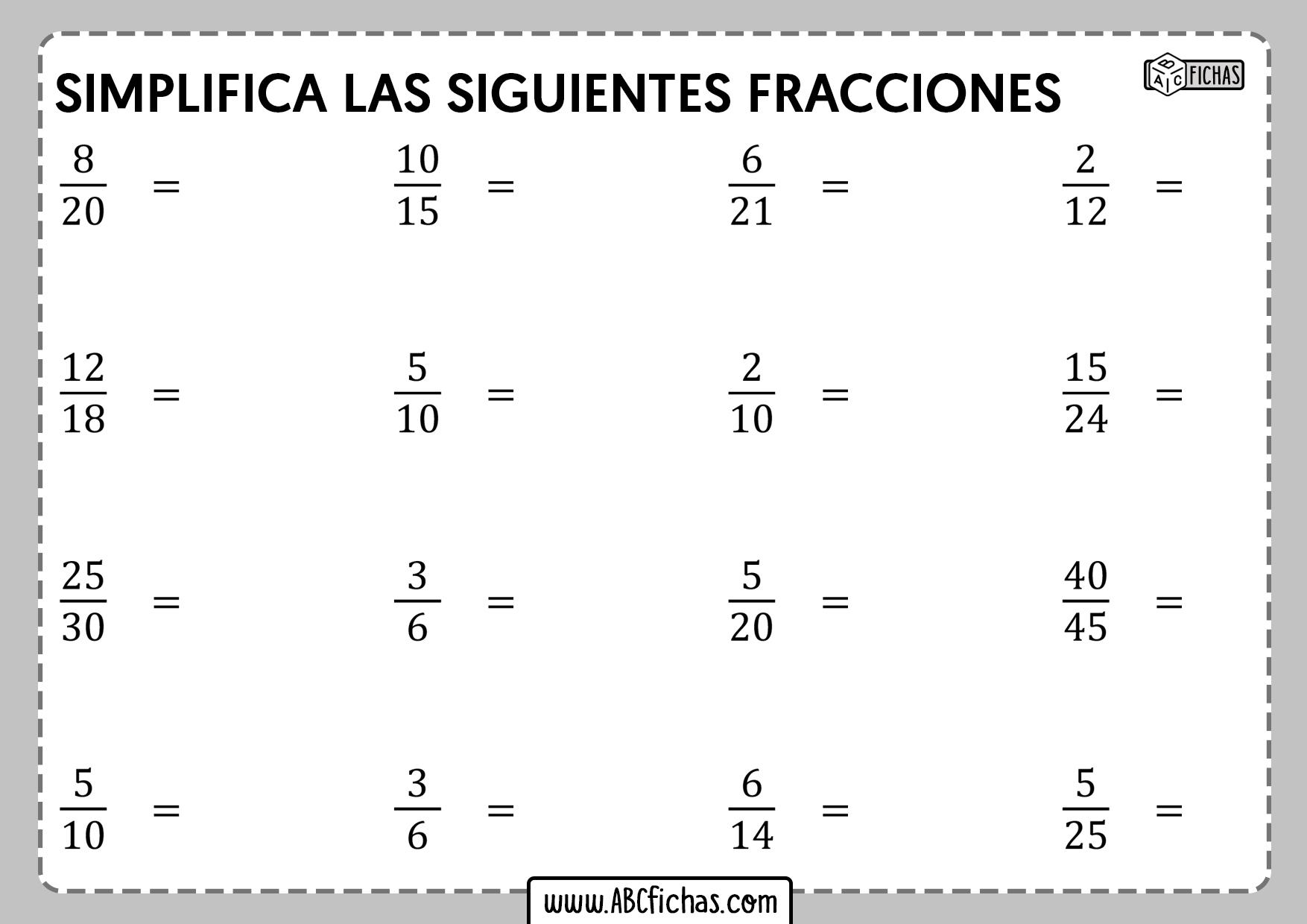 Ejercicios de simplificacion de fracciones para eso