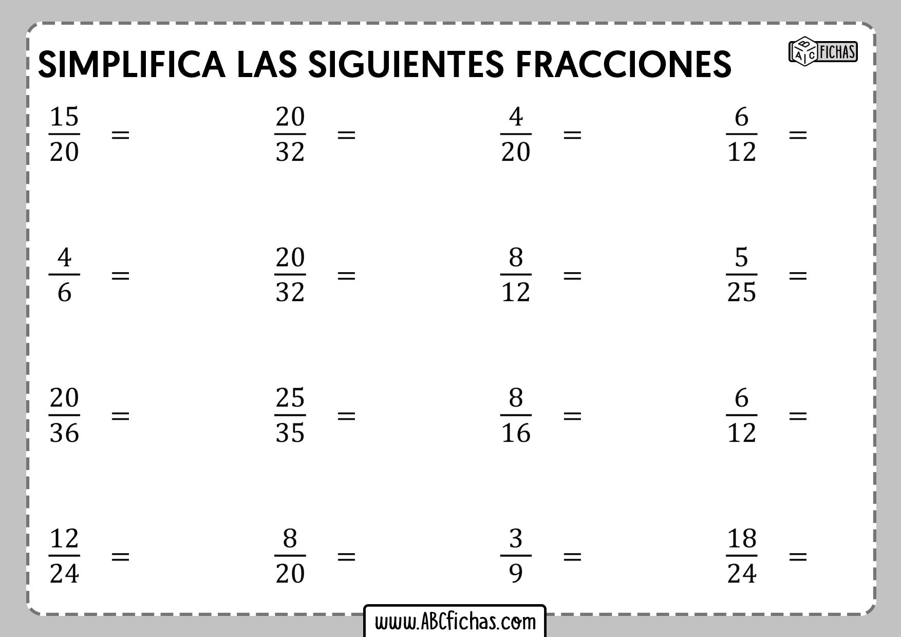 Ejercicios de simplificacion de fracciones