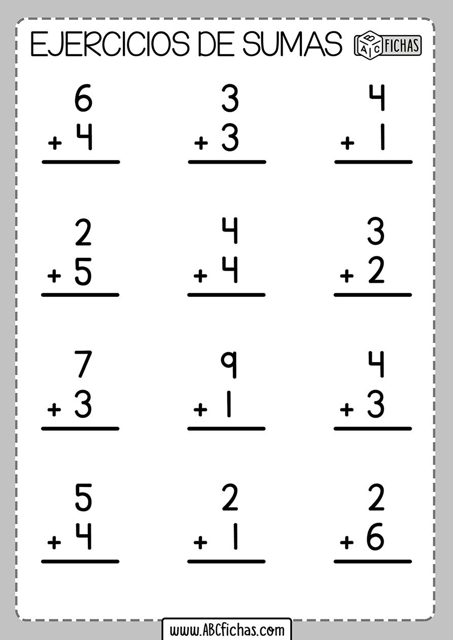 Ejercicios de sumas de 2 digitos