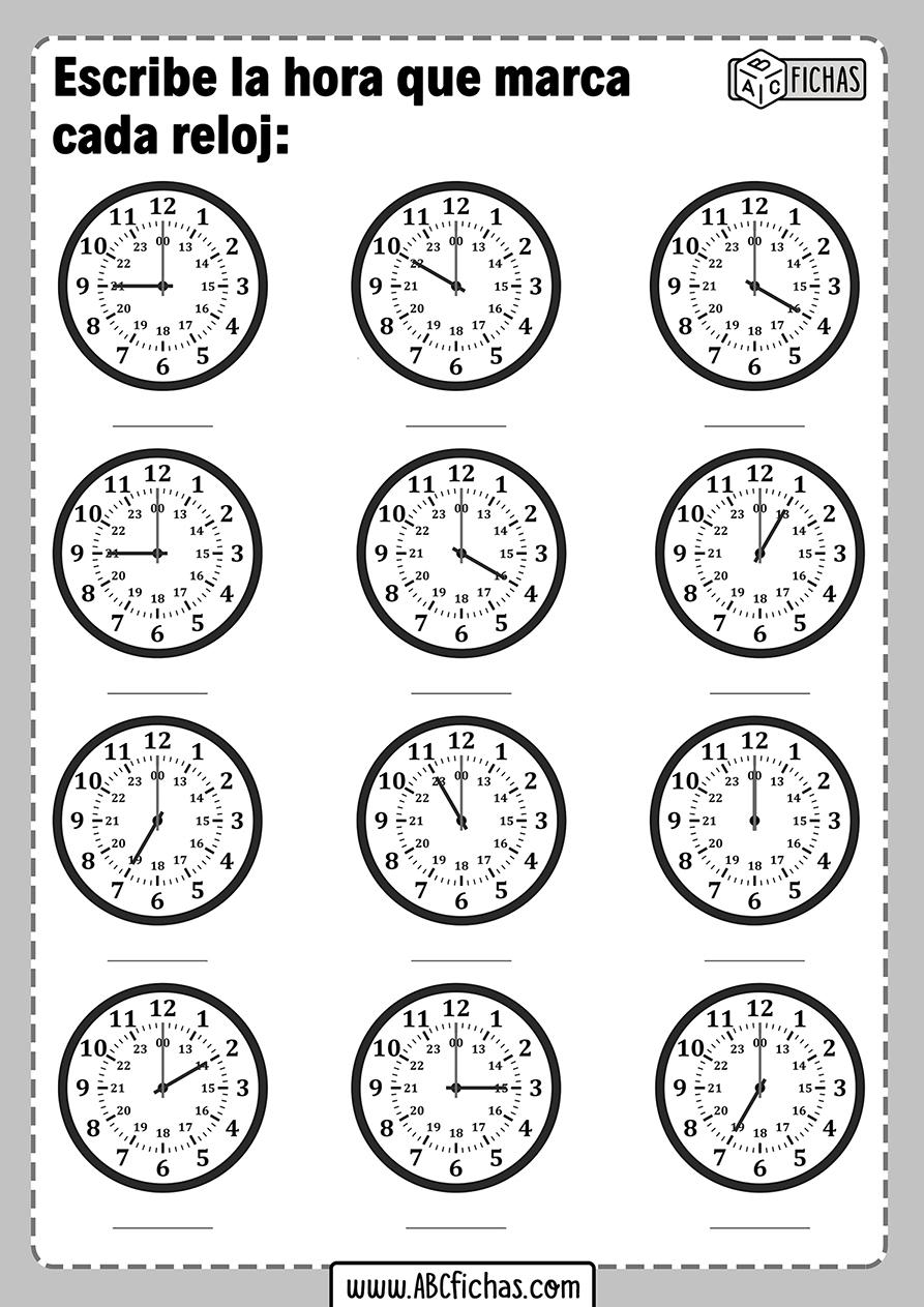 Ejercicios de aprender la hora con relojes