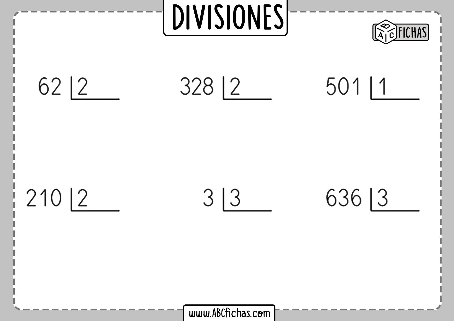 Ejercicios de divisiones faciles para resolver
