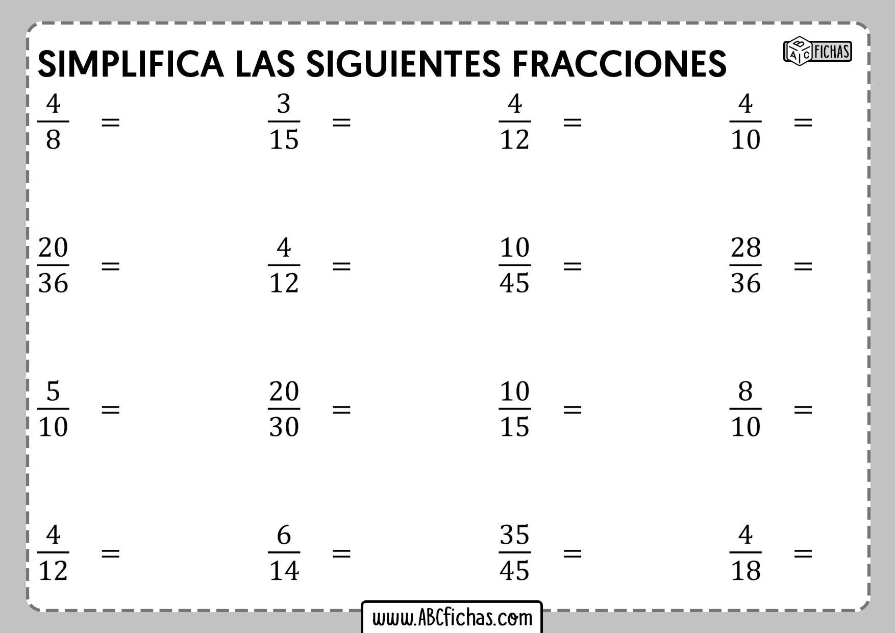 Ejercicios de reducción de fracciones