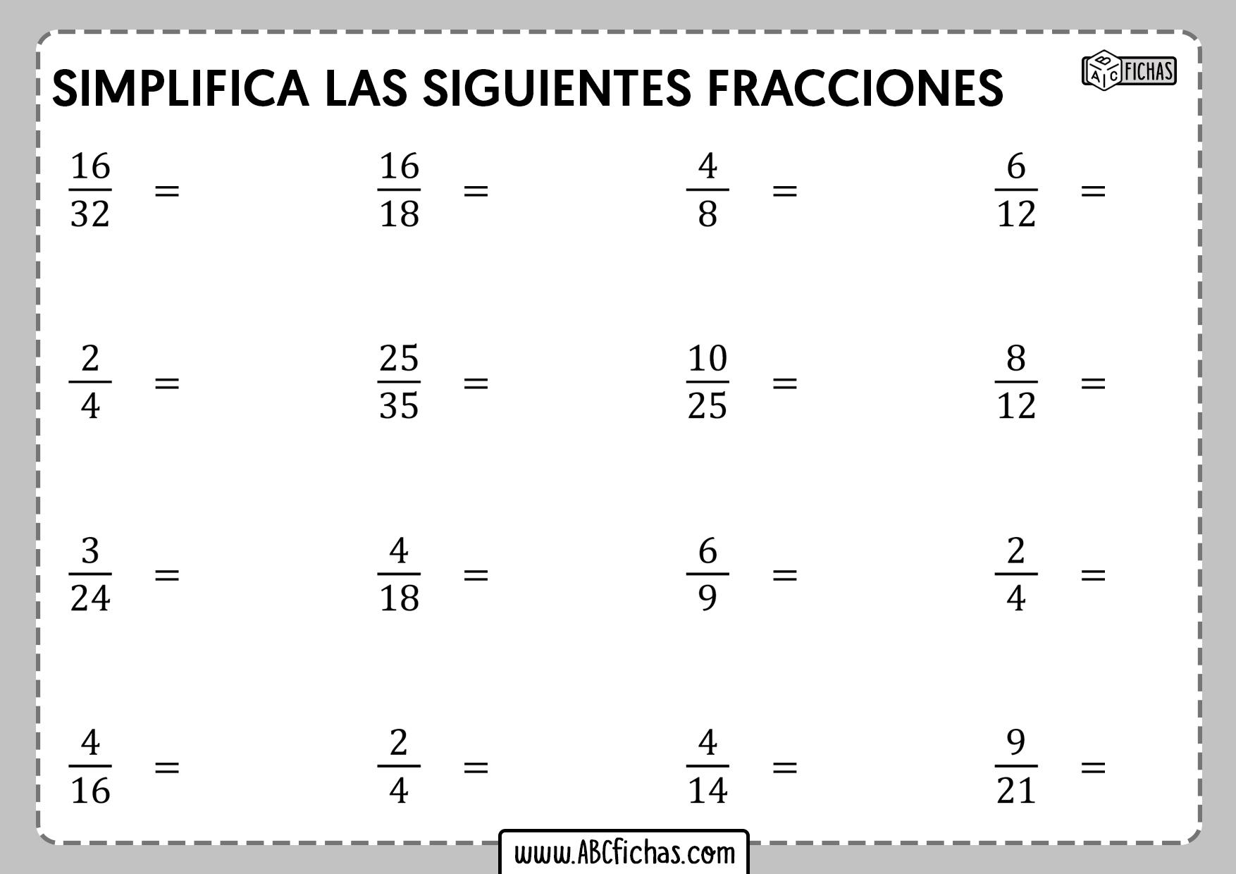 Ejercicios de simplificar fracciones