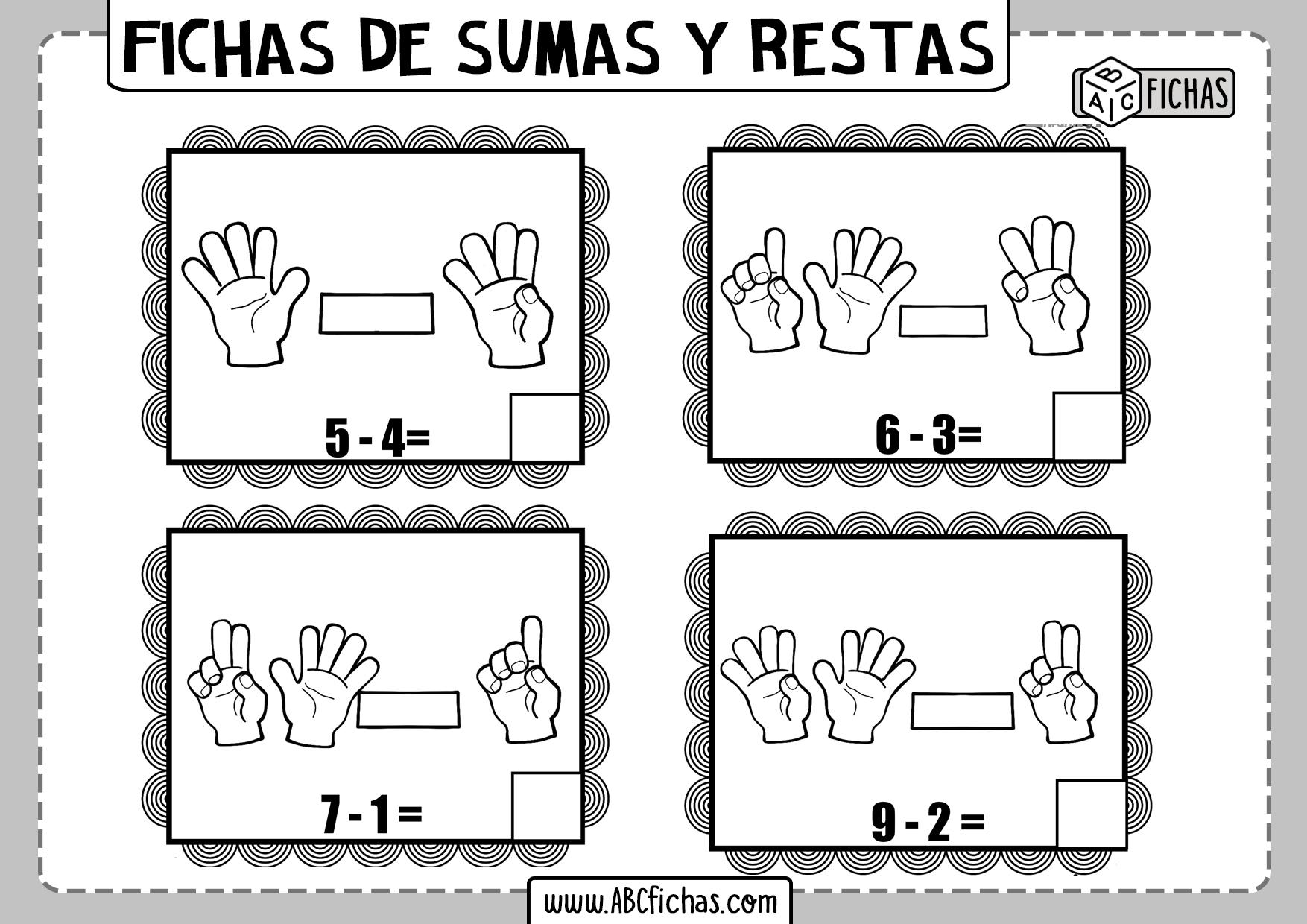 Ejercicios de sumas y restas con los dedos