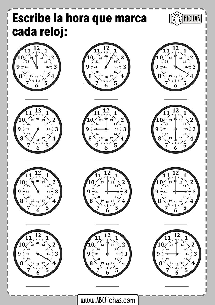 Ejercicios para escribir la hora