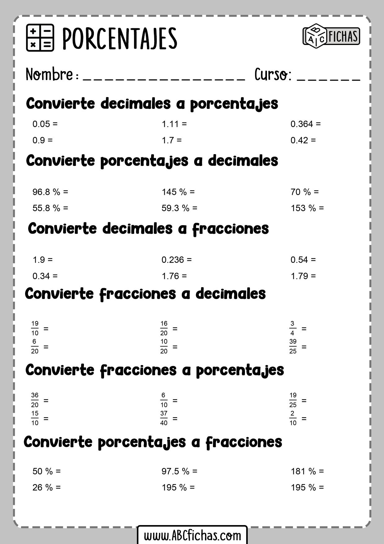 Ejercicios y problemas de porcentajes