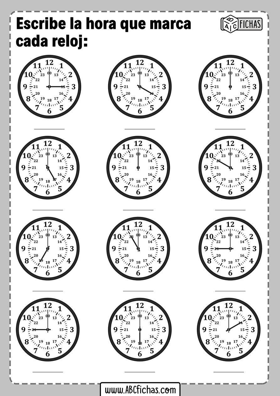 Fichas con ejercicios de relojes para aprender la hora