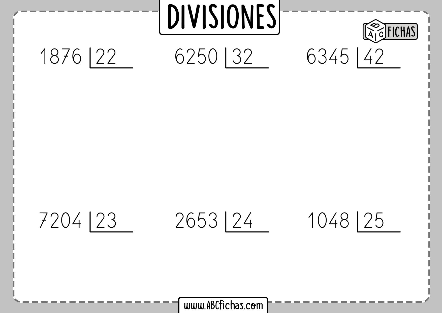 Fichas de divisiones para resolver
