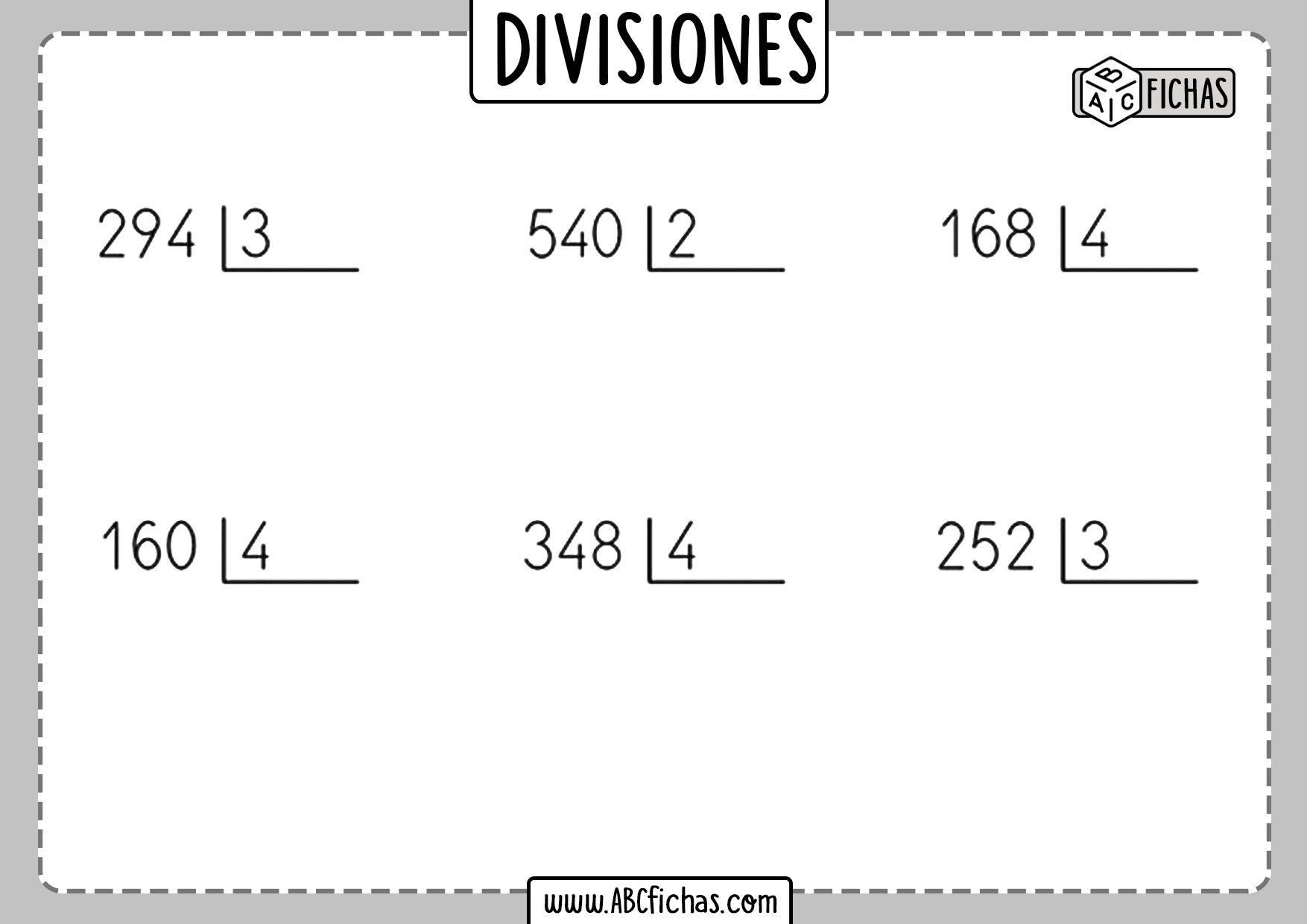Fichas de divisiones por 1 cifra