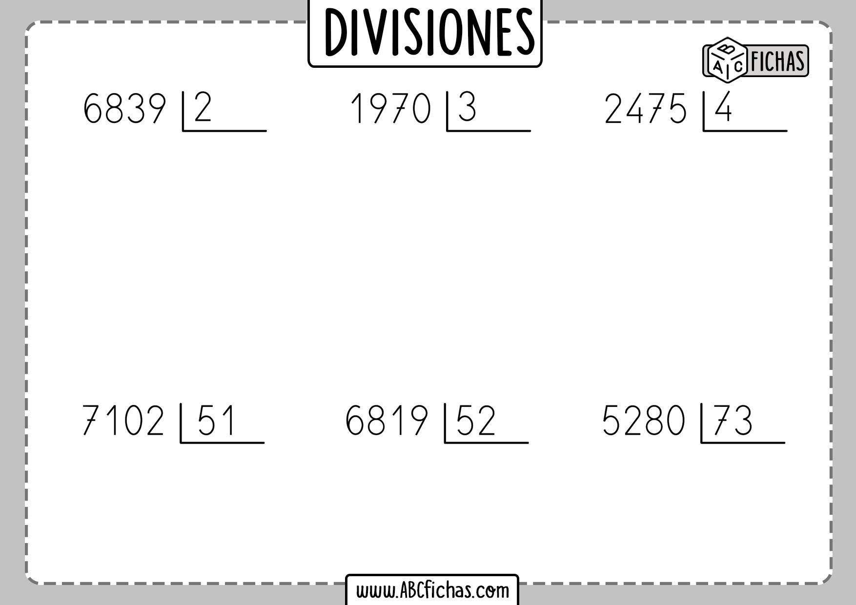 Fichas de divisiones por una cifra