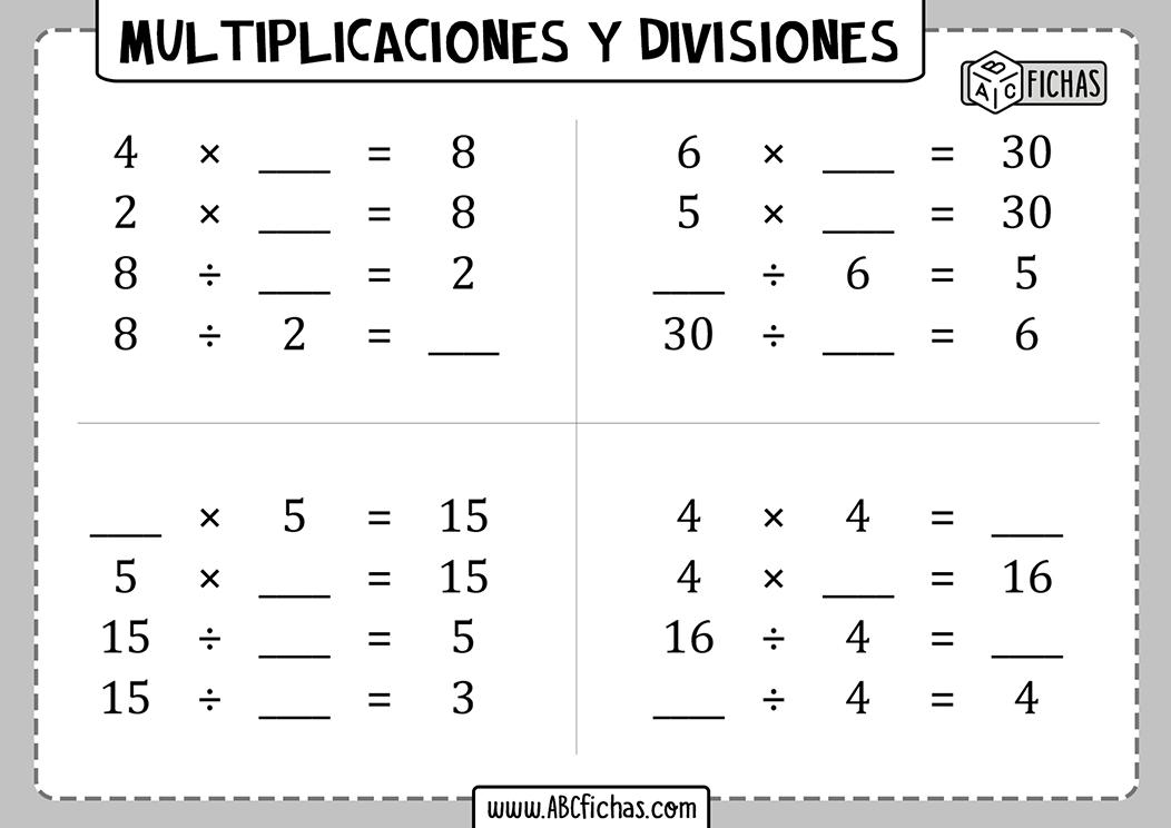 Fichas de ejercicios con multiplicaciones y divisiones