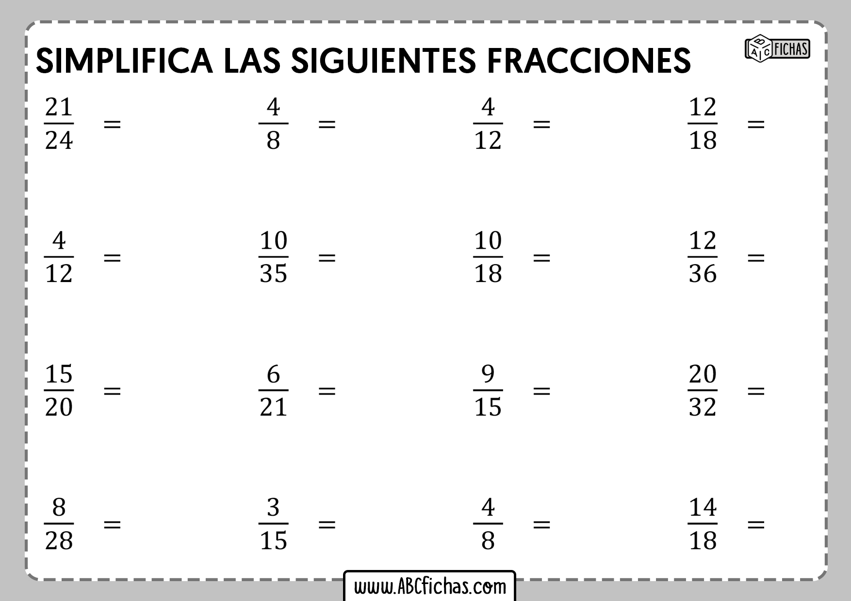 Fichas de ejercicios con fracciones simplificacion