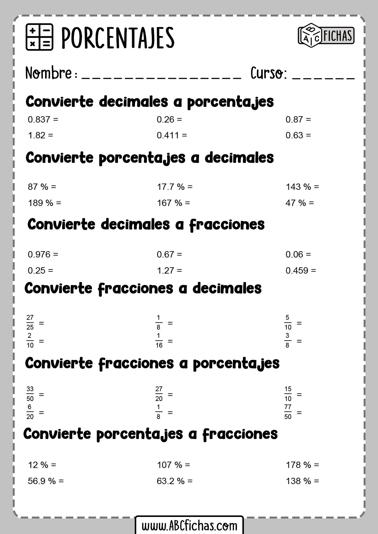 Fichas de ejercicios de porcentajes y calculos