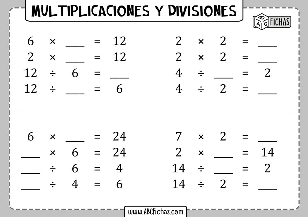 Fichas de multiplicaciones y divisiones para imprimir