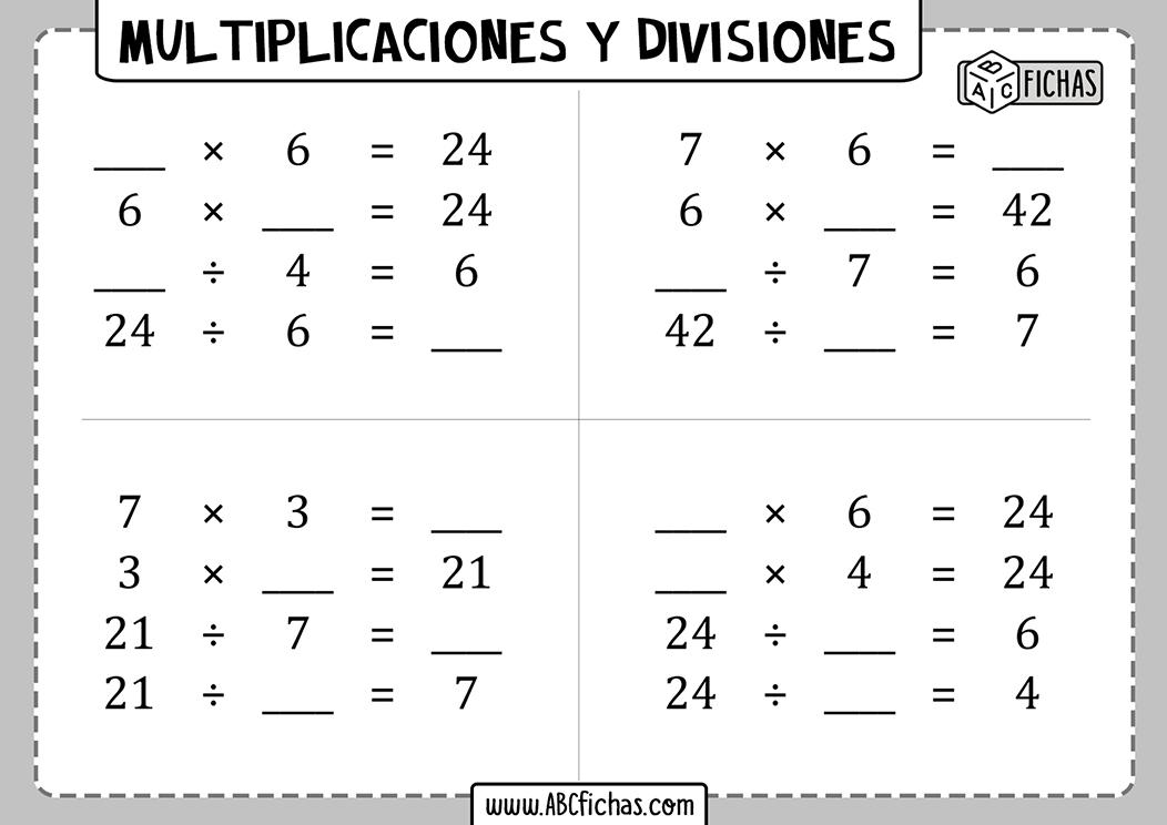 Fichas de multiplicaciones y divisiones
