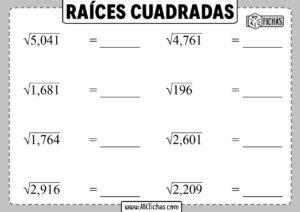 Fichas de raices cuadradas para imprimir