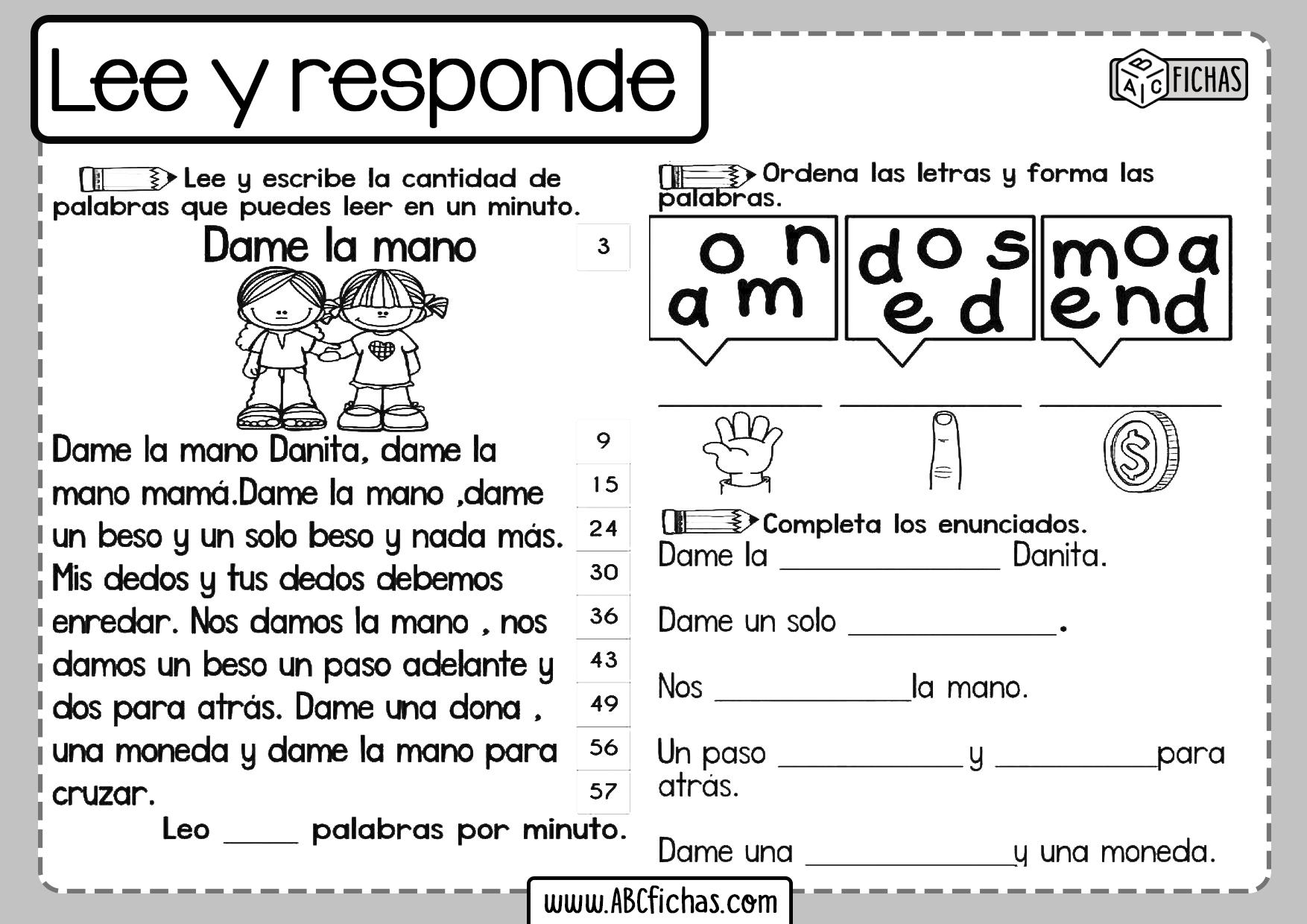 Fichas de lectura para niños
