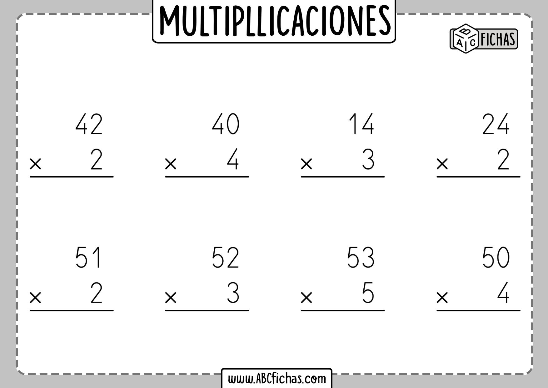 Fichas de multiplicaciones de 1 cifra