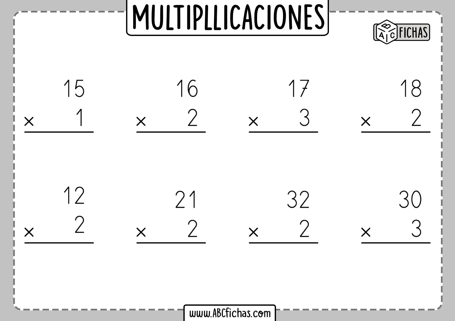 Fichas de multiplicaciones para imprimir de 1 cifra