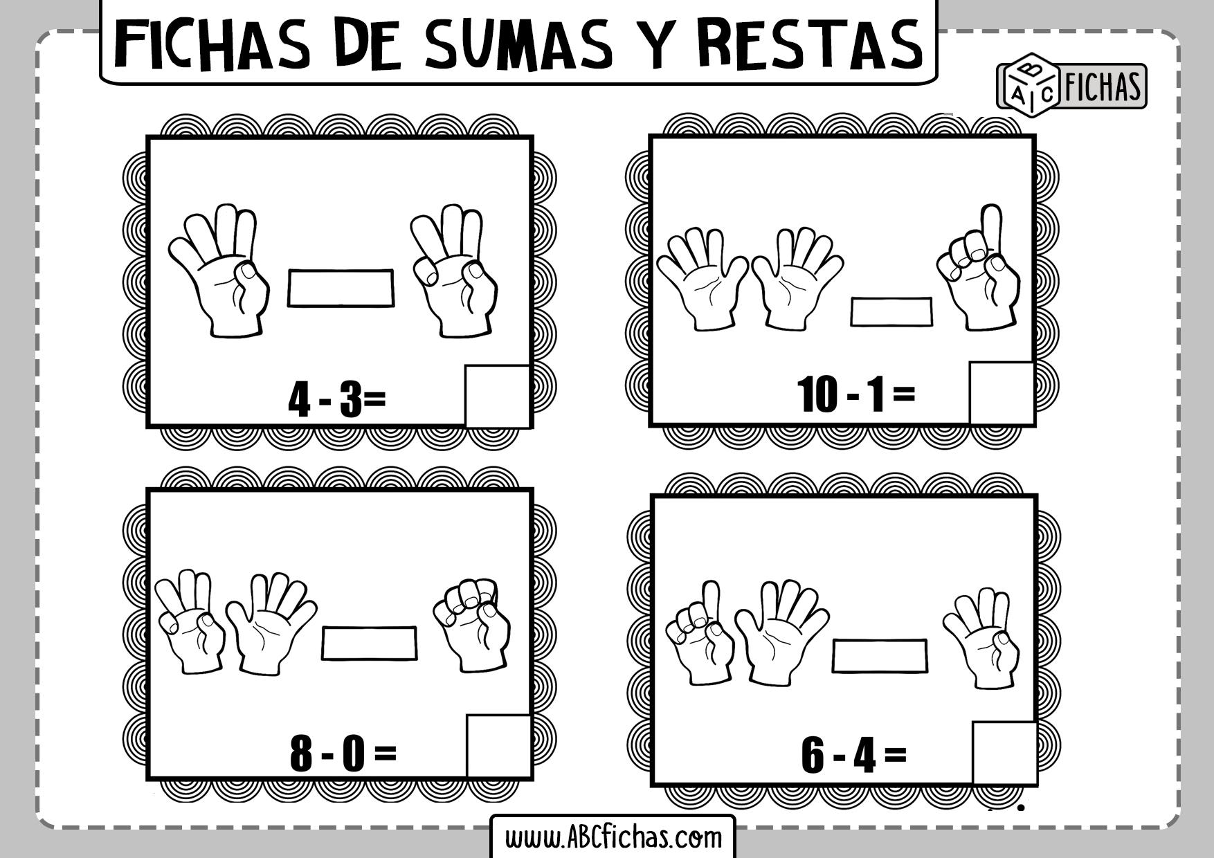 Fichas de sumas y restas con dedos