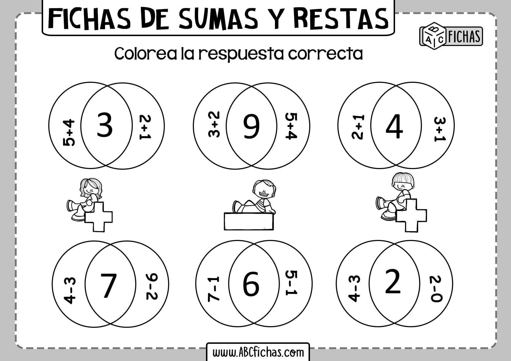 Fichas de sumas y restas para niños