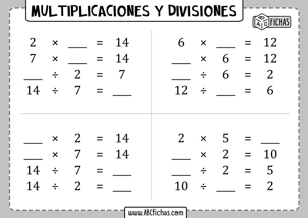 Fichas para imprimir de multiplicaciones y divisiones