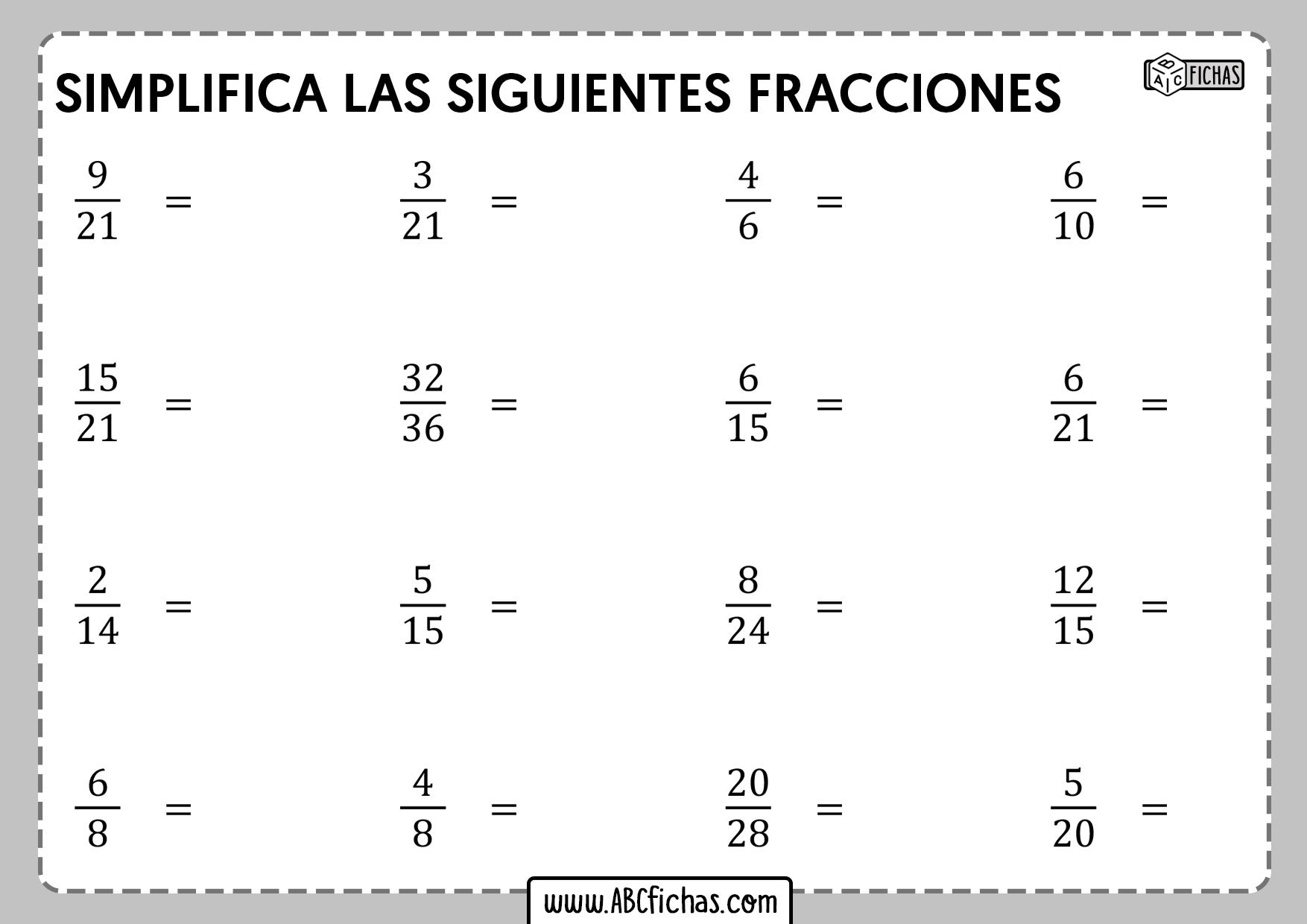 Fichs de ejercicios de simplificar fracciones