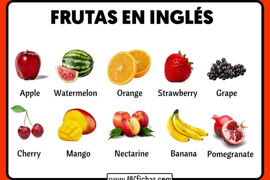 Frutas en ingles con dibujos para niños
