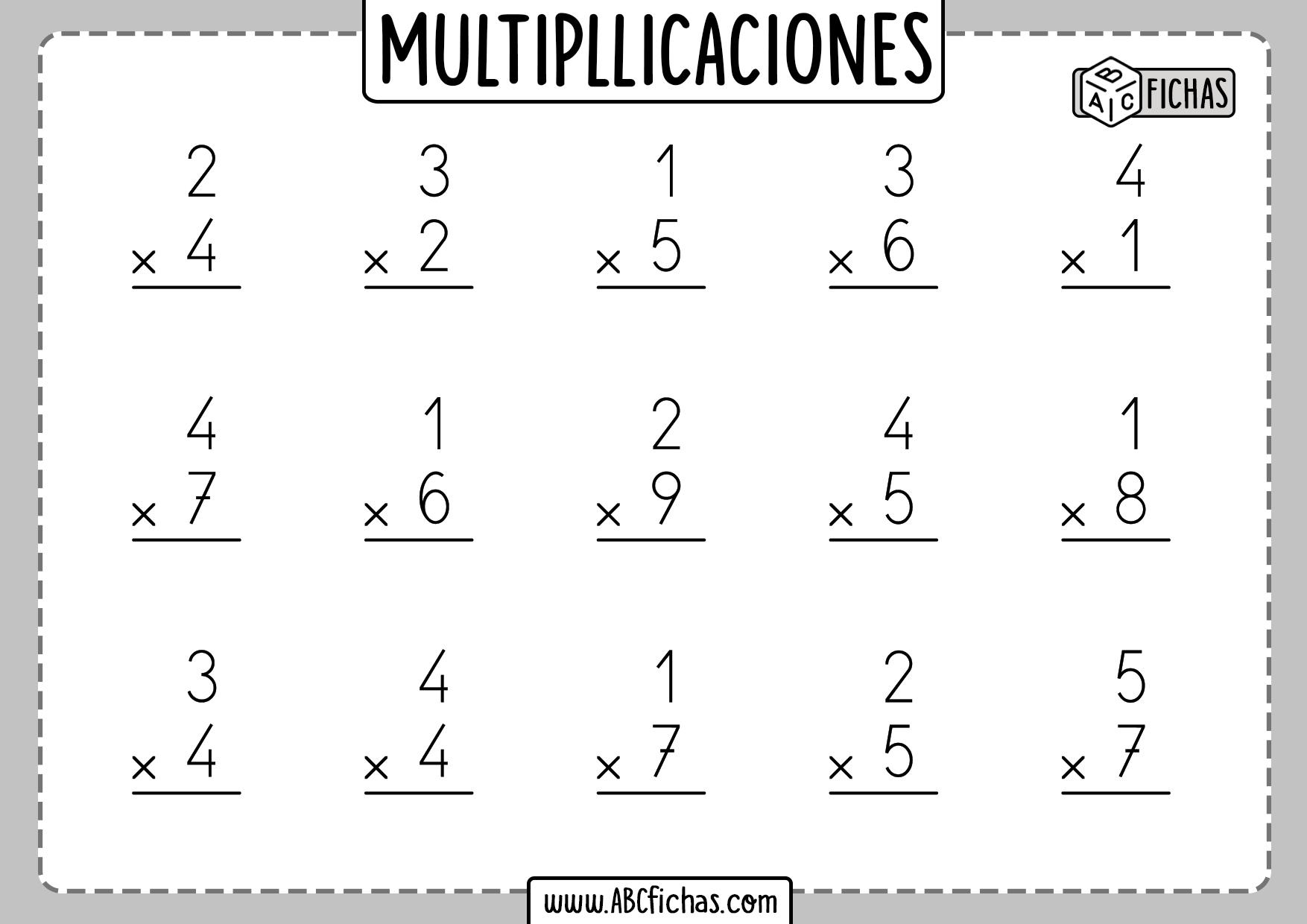 Multiplicaciones fichas para imprimir