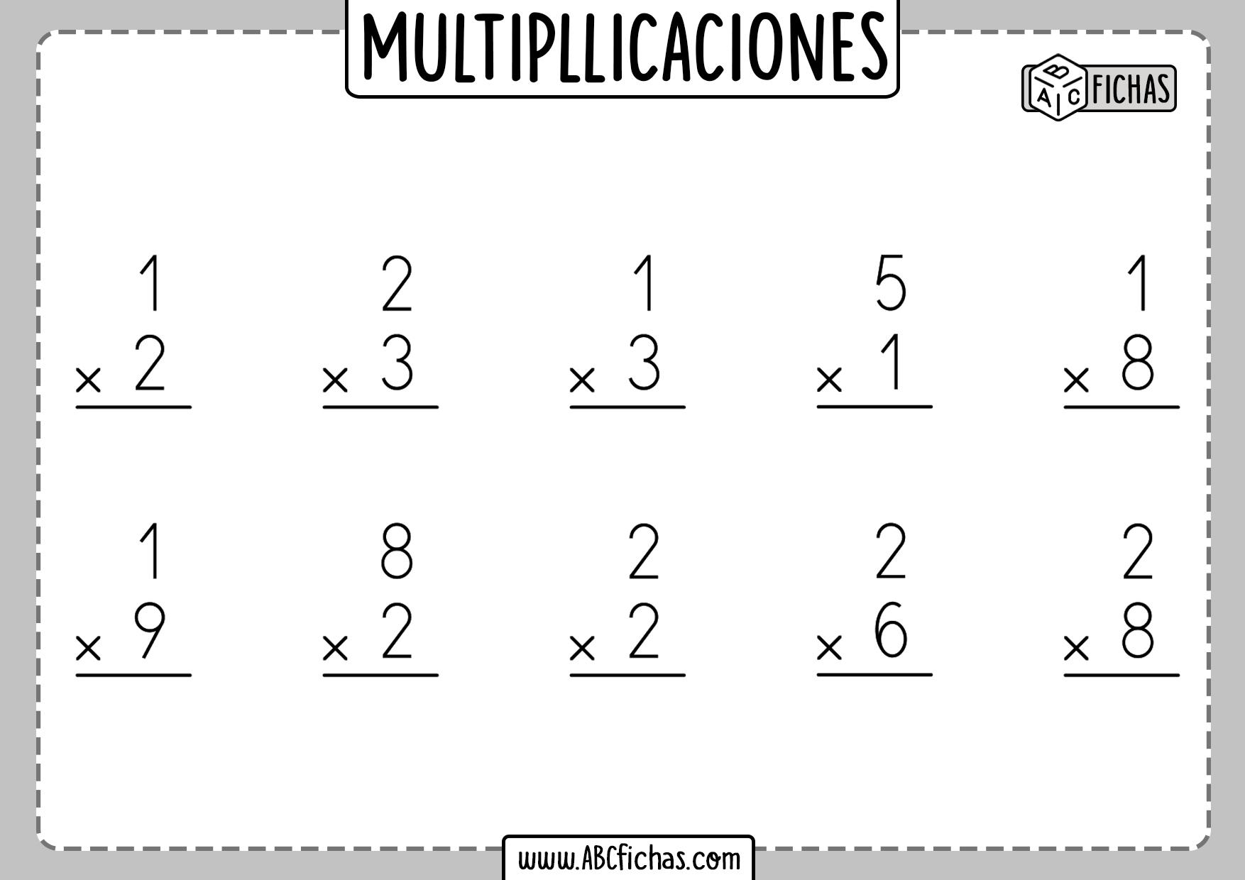 Multiplicaciones de 1 numero