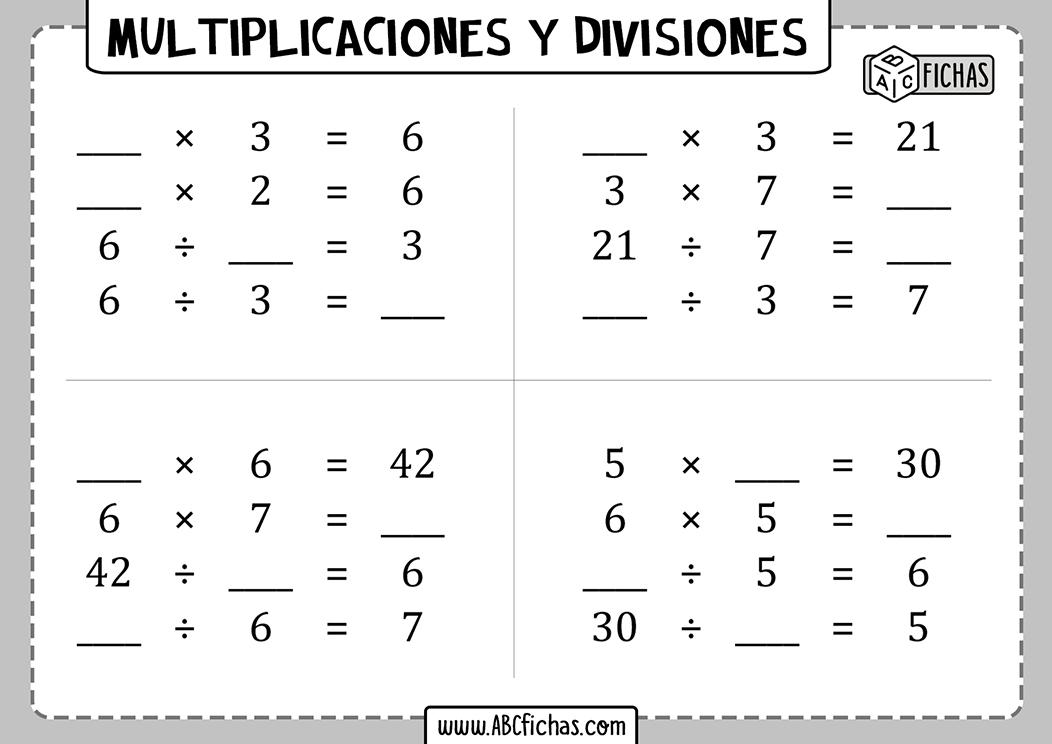 Multiplicaciones y divisiones cuadernillo para imprimir