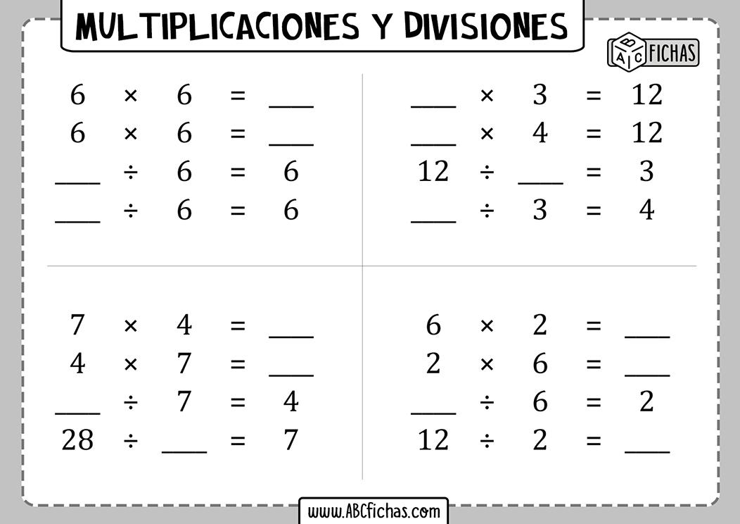 Multiplicaciones y divisiones para 1 de primaria