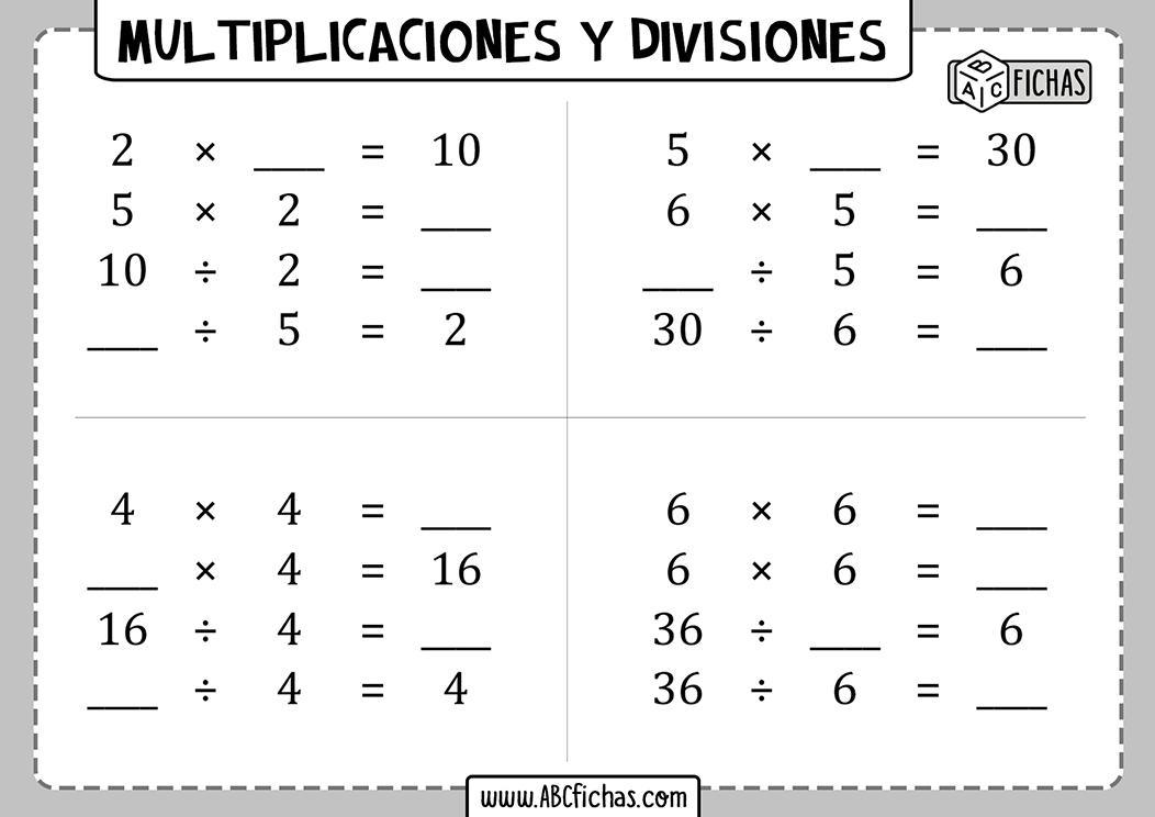 Multiplicaciones y divisiones para 2 de primaria